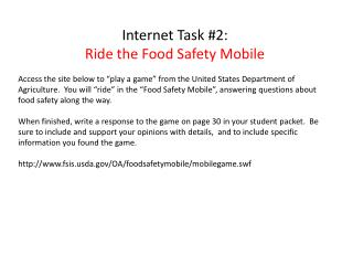 Internet Task #2:   Ride the Food Safety Mobile