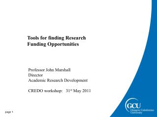 Tools for finding Research Funding Opportunities