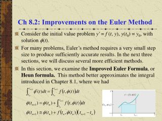 Ch 8.2: Improvements on the Euler Method