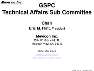 GSPC Technical Affairs Sub Committee