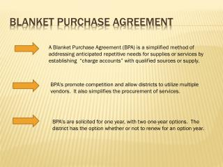 Blanket Purchase Agreement