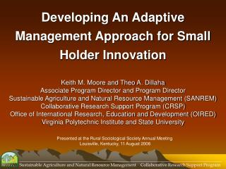 Developing An Adaptive Management Approach for Small Holder Innovation