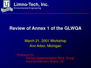 Review of Annex 1 of the GLWQA