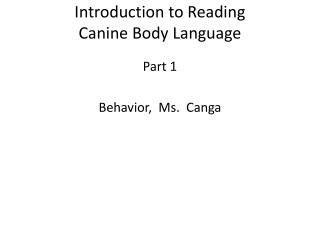 Introduction to Reading  Canine Body Language