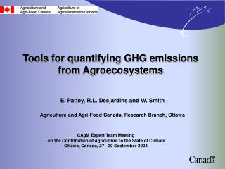 Tools for quantifying GHG emissions from Agroecosystems