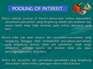 POOLING OF INTEREST