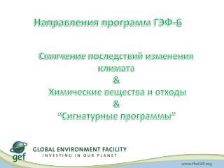 Направления программ ГЭФ-6