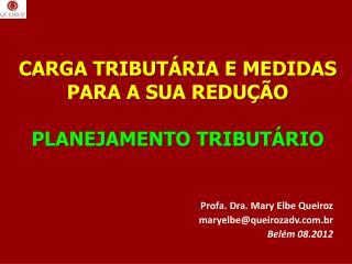 CARGA TRIBUTÁRIA E MEDIDAS PARA A SUA REDUÇÃO PLANEJAMENTO TRIBUTÁRIO