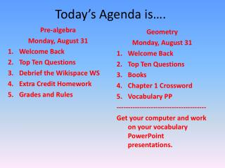 Today's Agenda is….