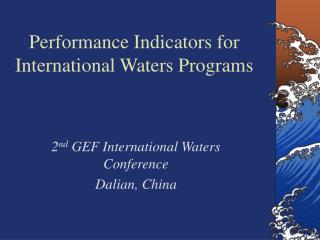 Performance Indicators for International Waters Programs