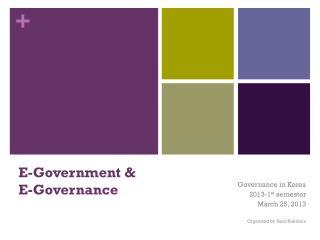 E-Government &  E-Governance
