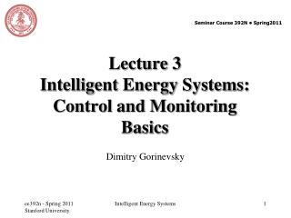 Lecture 3  Intelligent Energy Systems: Control and Monitoring Basics