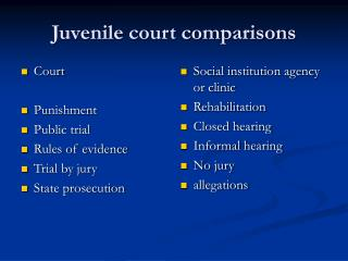 Juvenile court comparisons
