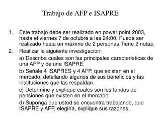 Trabajo de AFP e ISAPRE