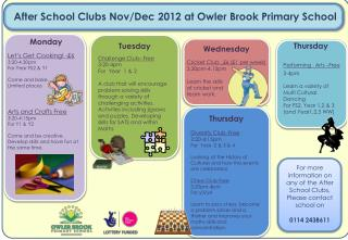 After School Clubs Nov/Dec 2012 at Owler Brook Primary School