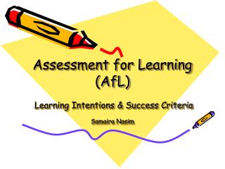 Assessment for Learning (AfL)  Learning Intentions & Success Criteria Samaira Nasim