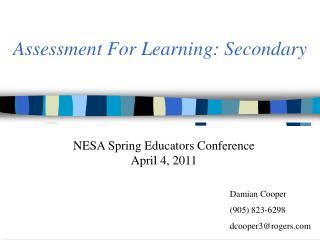 Assessment For Learning: Secondary