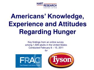 Americans' Knowledge, Experience and Attitudes Regarding Hunger