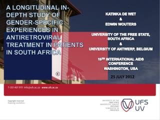 KATINKA DE WET  &  EDWIN WOUTERS UNIVERSITY OF THE FREE STATE, SOUTH AFRICA  &