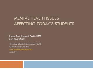 Mental Health Issues  Affecting Today�s Students