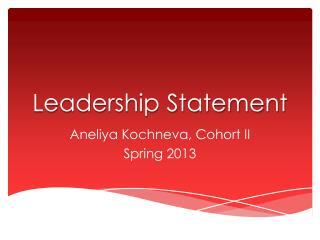 Leadership Statement