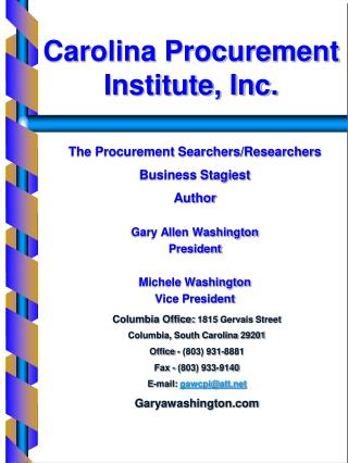 The Procurement Searchers/Researchers Business Stagiest  Author  Gary Allen Washington President