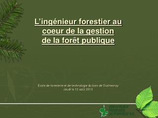 L'ingénieur forestier au  coeur de la gestion  de la forêt publique