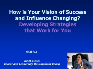 How is Your Vision of Success and Influence Changing? Developing Strategies  that Work for You
