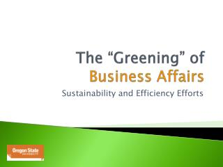 """The """"Greening"""" of  Business Affairs"""