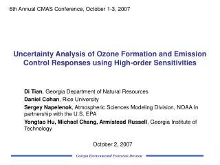 Di Tian , Georgia Department of Natural Resources Daniel Cohan , Rice University