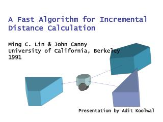 A Fast Algorithm for Incremental   Distance Calculation  Ming C. Lin  John Canny University of California, Berkeley 1991