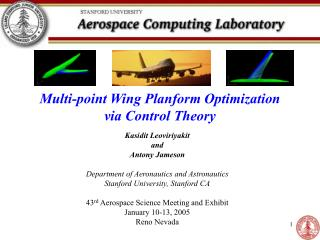 Multi-point Wing Planform Optimization via Control Theory