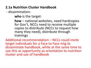2.1a Nutrition Cluster Handbook - dissemination:  who  is the target: