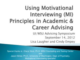 Using Motivational Interviewing (MI) Principles in Academic & Career Advising