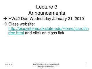 Lecture 3 Announcements