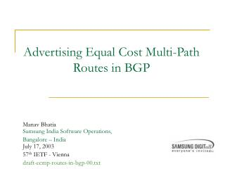 Advertising Equal Cost Multi-Path Routes in BGP