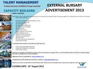 EXTERNAL BURSARY ADVERTISEMENT 2013