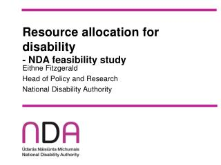 Resource allocation for disability - NDA feasibility study