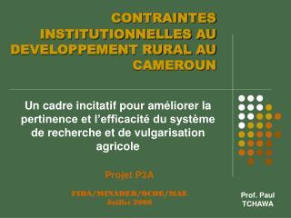CONTRAINTES INSTITUTIONNELLES AU DEVELOPPEMENT RURAL AU CAMEROUN