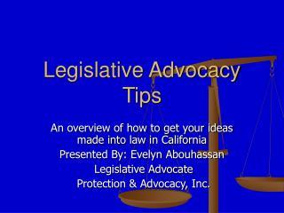 Legislative Advocacy Tips