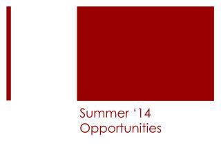 Summer '14 Opportunities