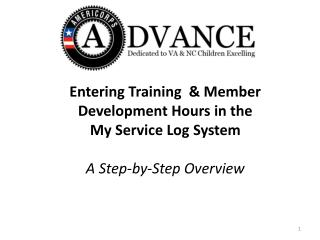 Entering Training  & Member  Development Hours in the  My Service Log System