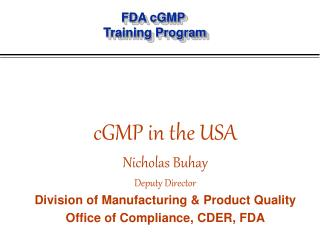 FDA cGMP  Training Program