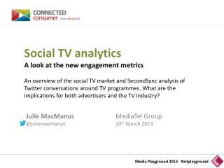 Julie MacManus MediaTel  Group @ juliemacmanus 20 th  March 2013
