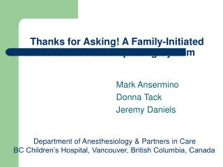 Thanks for Asking! A Family-Initiated Adverse Event Reporting System