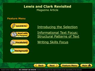 Lewis and Clark Revisited Magazine Article