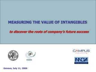 MEASURING THE VALUE OF INTANGIBLES