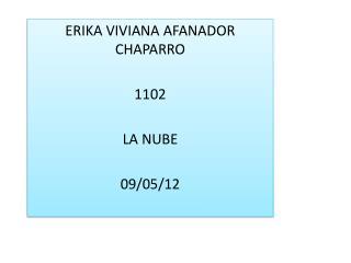 ERIKA VIVIANA AFANADOR CHAPARRO 1102 LA NUBE  09/05/12