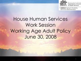House Human Services  Work Session Working Age Adult Policy June 30, 2008