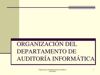 ORGANIZACI�N DEL DEPARTAMENTO DE AUDITOR�A INFORM�TICA